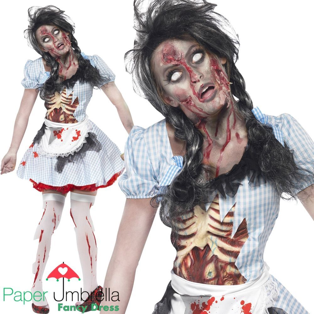 Zombie DOROTHY Halloween Fancy Dress Costume Womans outfit White ...