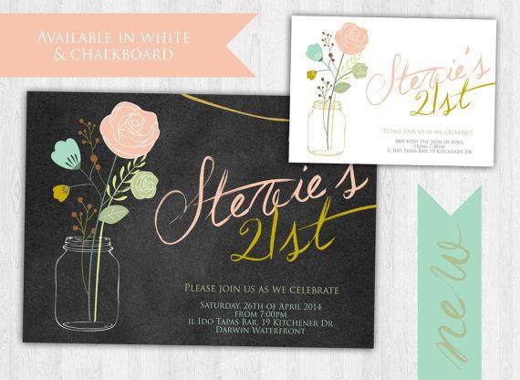 21st Birthday Invitation Mason Jar Elegant By EmbellisheDesigns