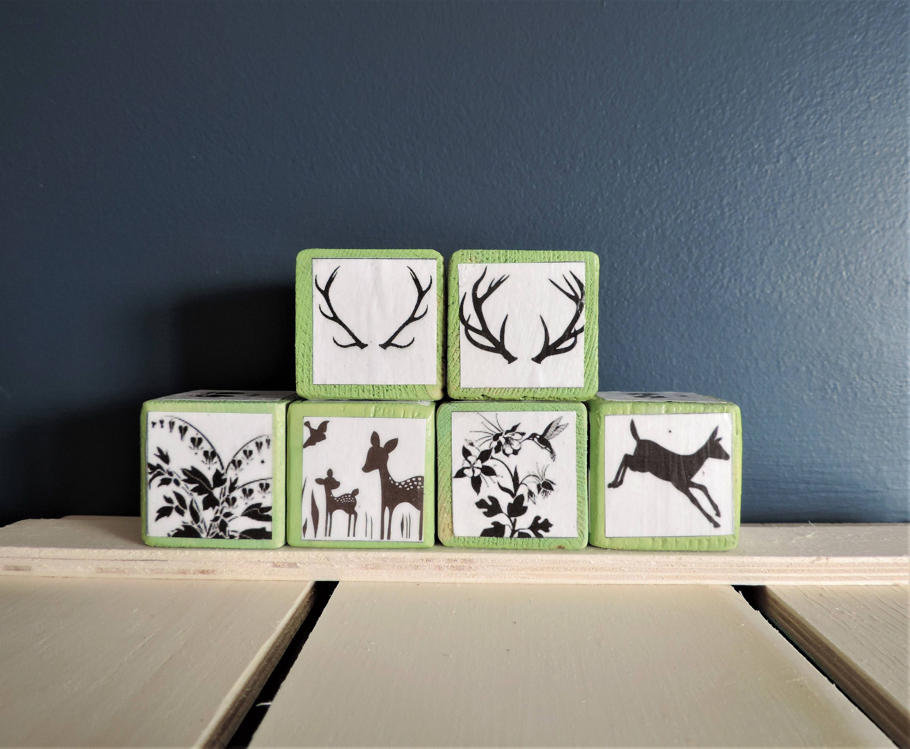 Ready To Ship Storybook Blocks Silhouette Woodland Animals,Rustic Woodland Nursery,Whimsical