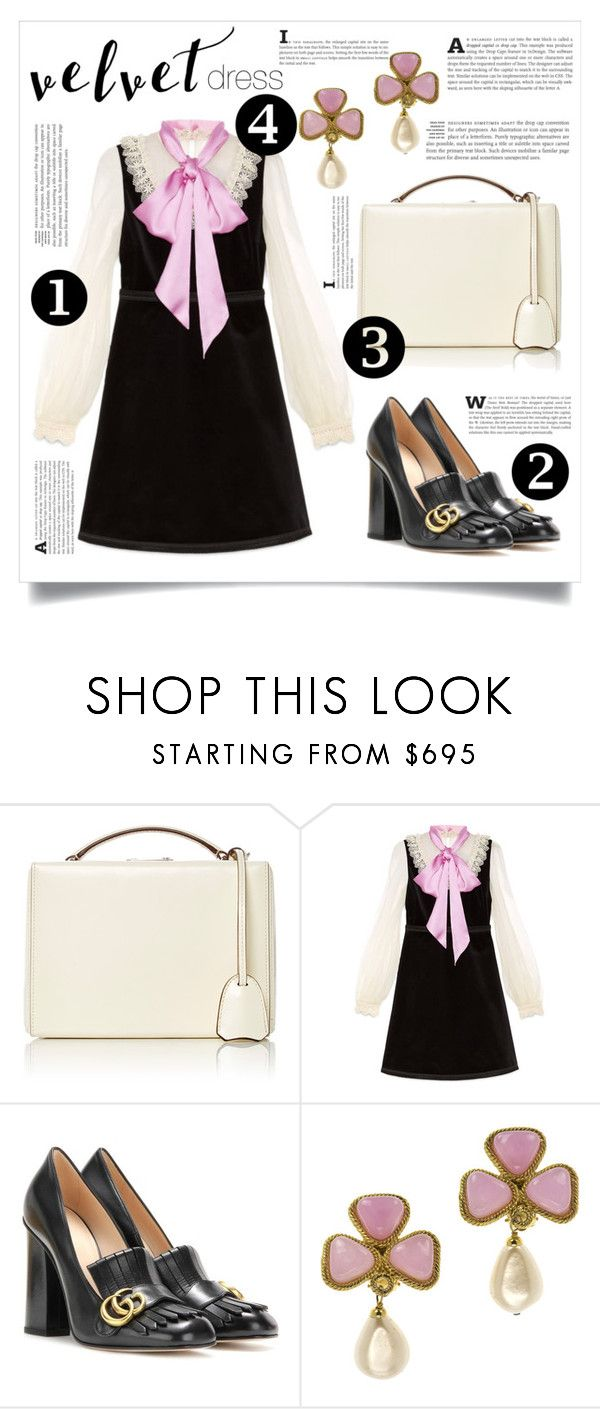 """Crushing It: Summer to Fall Velvet"" by samira-rahimova ❤ liked on Polyvore featuring Mark Cross, Gucci and Chanel"