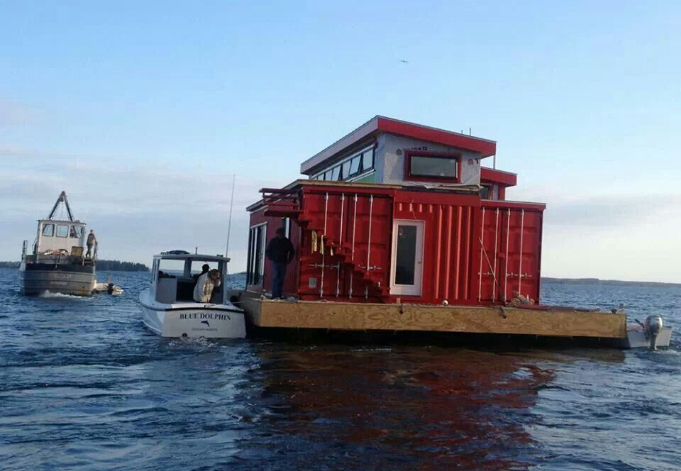 House Boat Made From Shipping Containers Shipping Container Floating Architecture