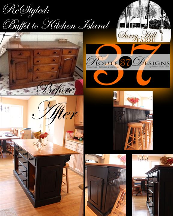 Ordinaire Finished Kitchen Island! From Craigslist Buffet ($125) To Kitchen Island!  Country Charm