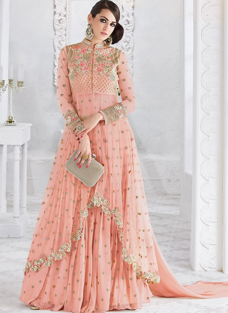 7a438941a0 Buy Pink color georgette and net party wear ghaghara 2-in-1 look in ...