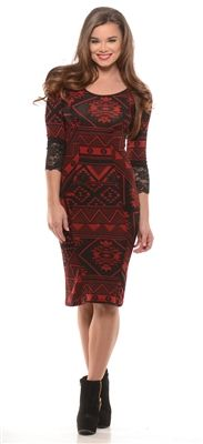Black Red Lace Sweater Dress