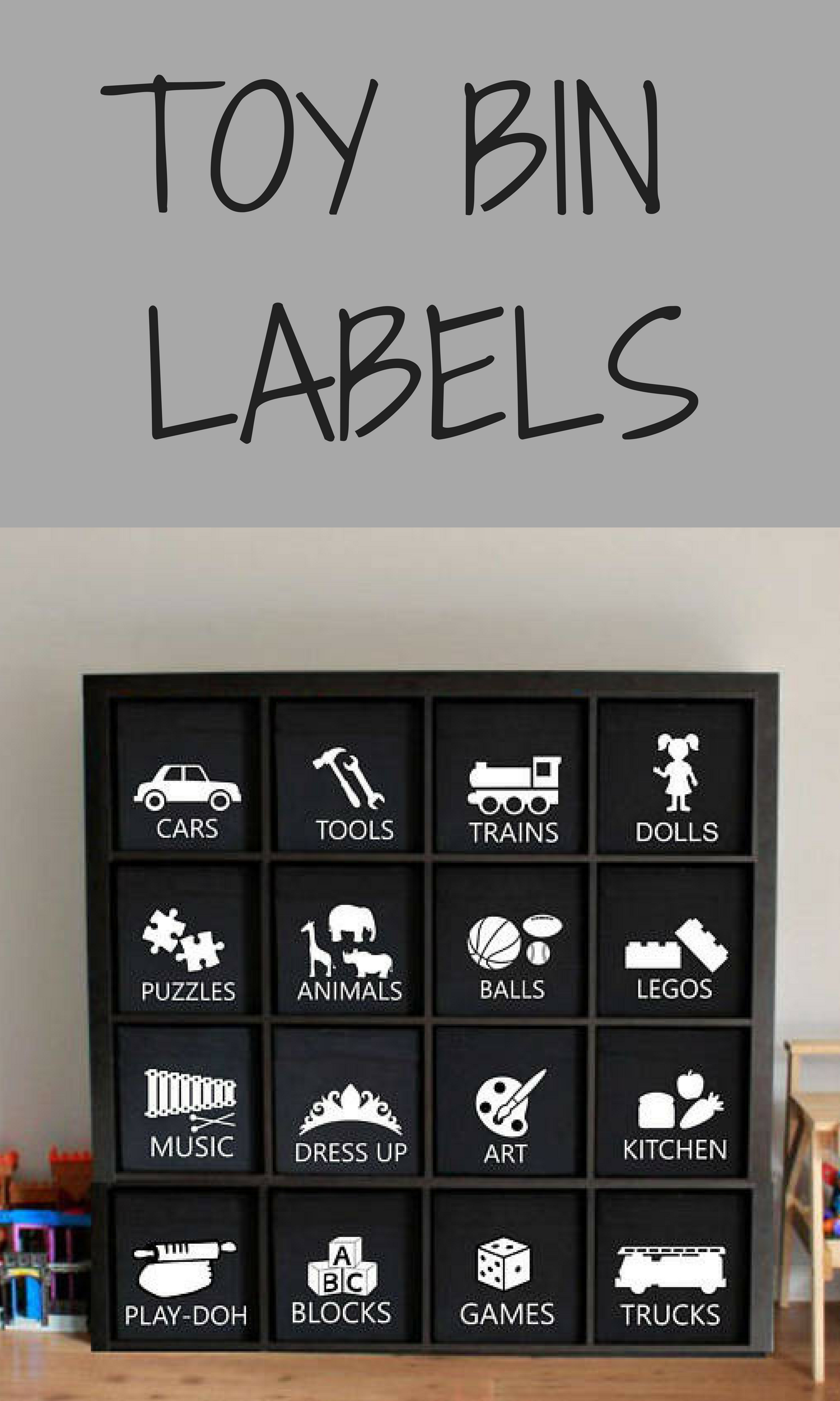 Car interior decoration toys  ONE Adhesive Vinyl Toy Bin Label  designs available Colors