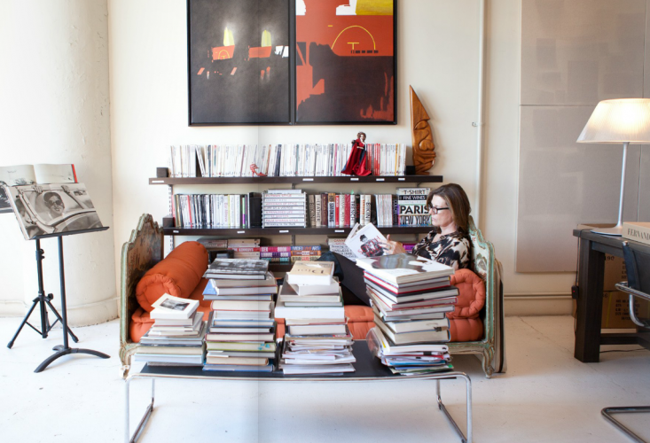 Martine Assouline of Assouline Publishing lounging in her office from the December issue of Matchbook.