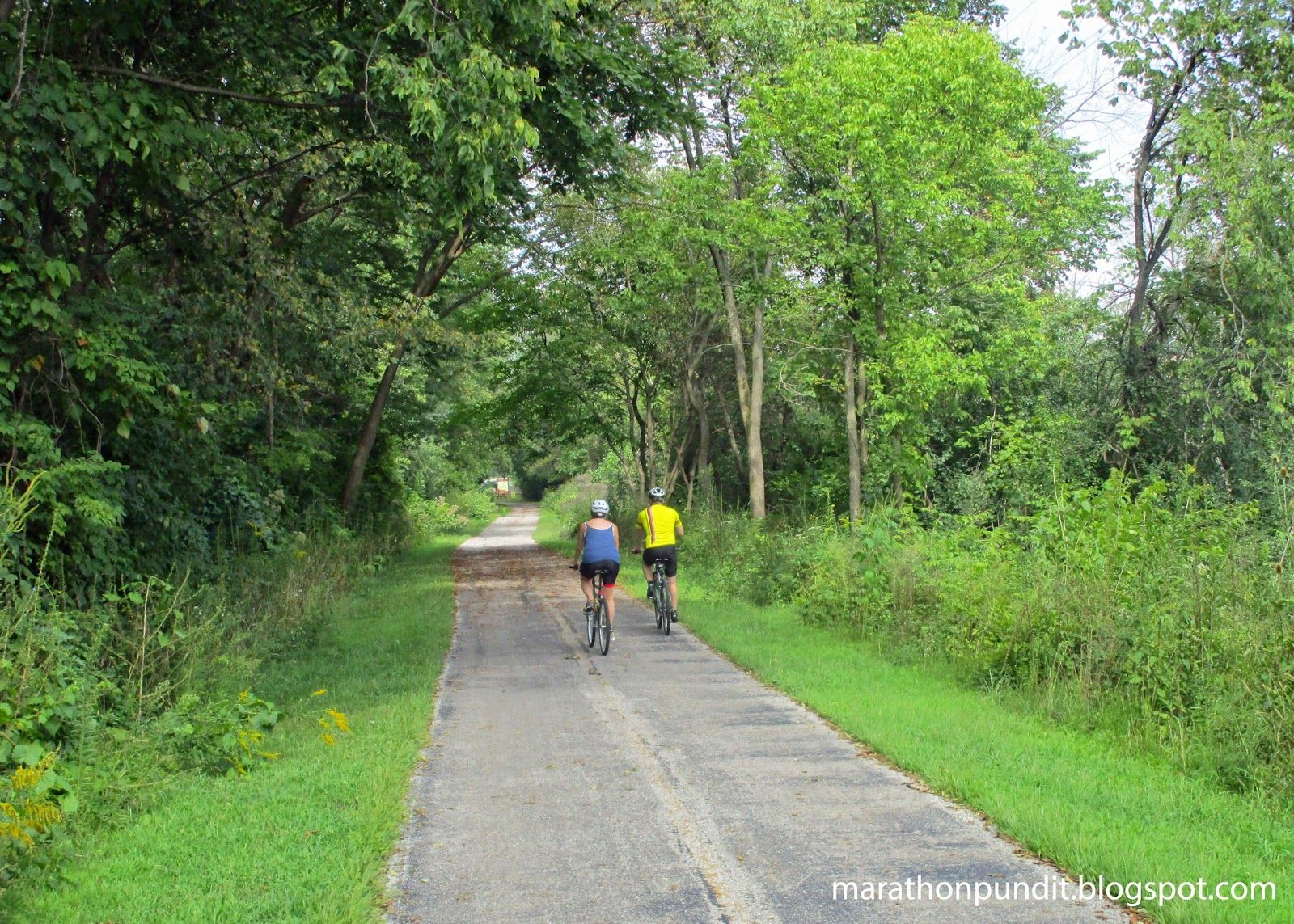 Cyclists on the Illinois & Michigan National Heritage Corridor Trail in Willow Springs, Illinois.