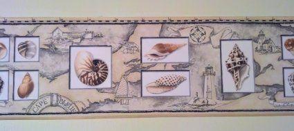 Lighthouse Map with Seashells Wallpaper Border Amazon