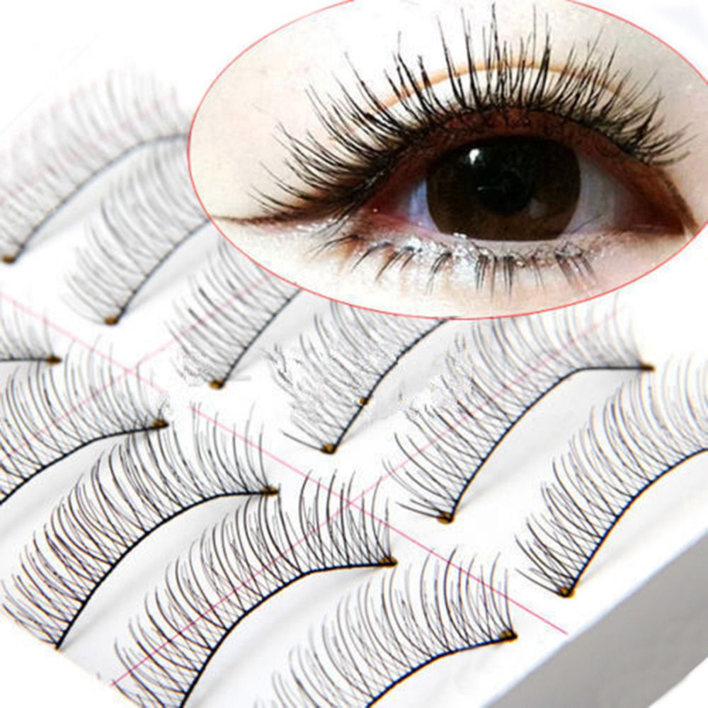 10 Pares Hechos A Mano Natural Falsas Pestañas Moda Pestañas Falsas Largo Negro Falsas Pestañas Pestañas Maquillaje Cosmético Al Por Mayor
