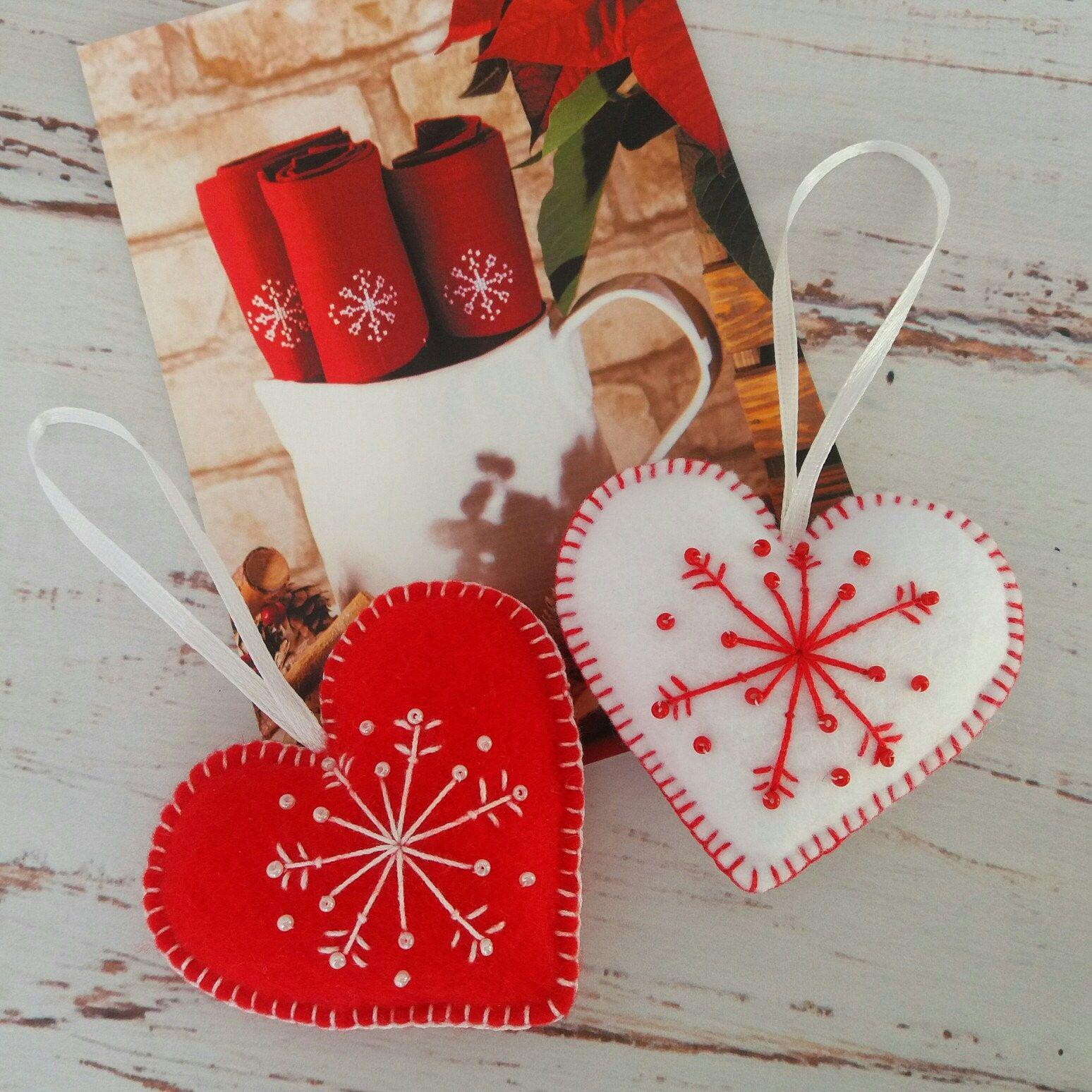 Scandinavian heart ornaments Red and White decor Set of 2 hearts | Scandinavian christmas ...