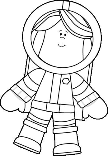 Black And White Little Girl Astronaut Sanat Alanlari Astronot