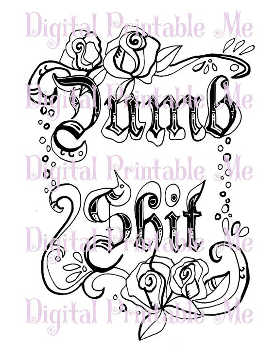 Swear Word Coloring Sheet Page Printable Dumb Sht