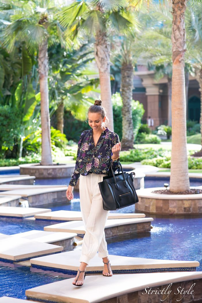 summer outfit travel outfit dubai outfit street style ootd harem pants floral print celine