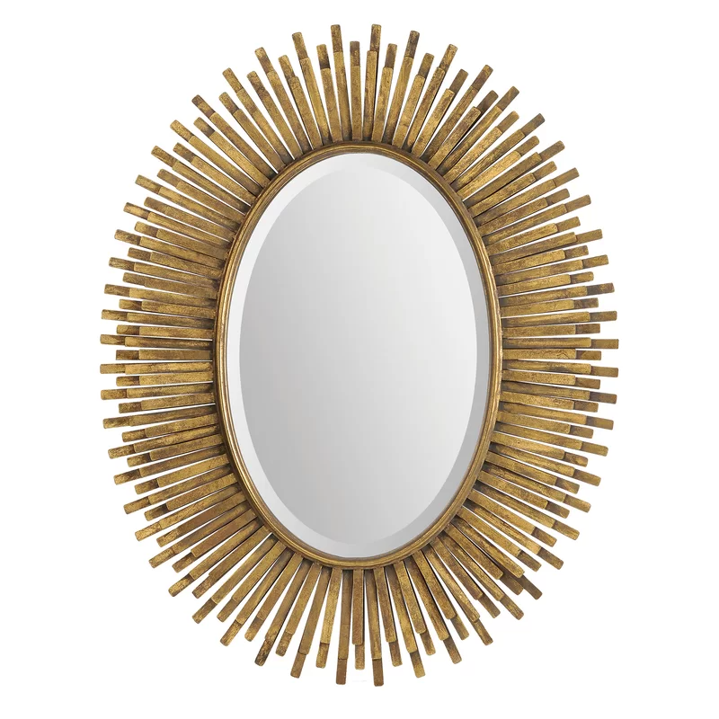 Han Modern Contemporary Accent Mirror Oval Mirror Framed Mirror Wall Oval Wall Mirror