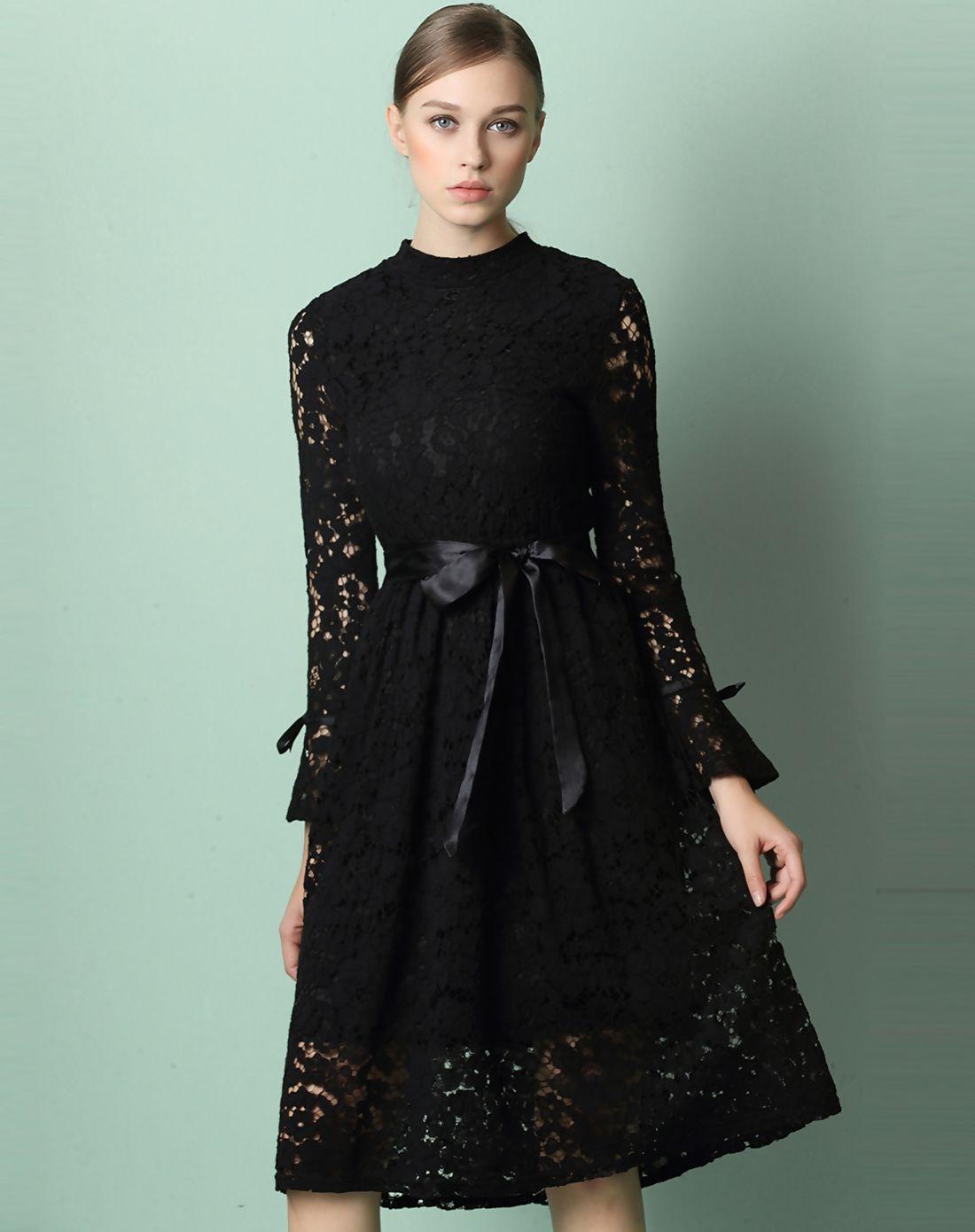 #AdoreWe #VIPme A-Line Dresses - Designer yimei Black Stand Collar Long Sleeve Lace Sheath Dress - AdoreWe.com