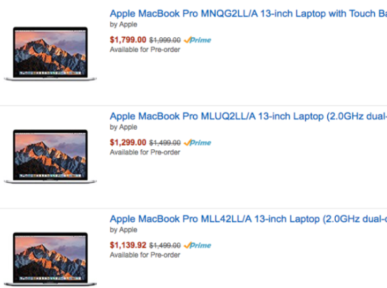 Amazon по ошибке снизила цены на новые MacBook Pro предложив скидки до $359