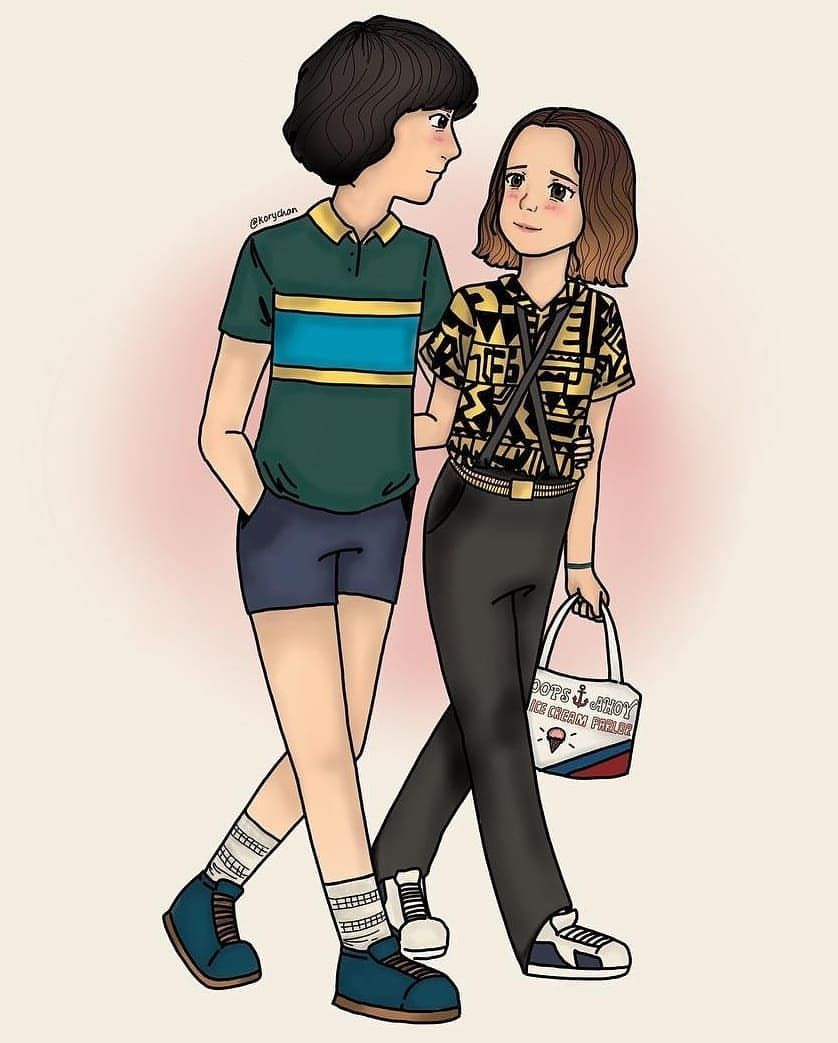 Stranger Things Mike And Eleven By ᴋᴏʀʏ Korychan Finn Wolfhard Mille Bobby Brown S Bagulhos Sinistros Bonecos Stranger Things Personagens De Stranger Things