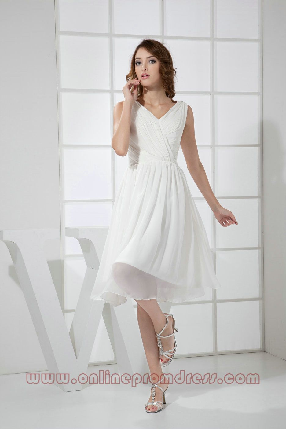V Neck Chiffon Ruched WHite Graduation Dress | graduation ...