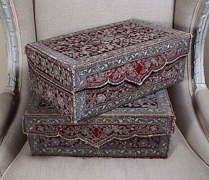 PAIR-Antique-Ottoman-Persian-Embroidered-Velvet-Book-Box-Casket-18th-Century