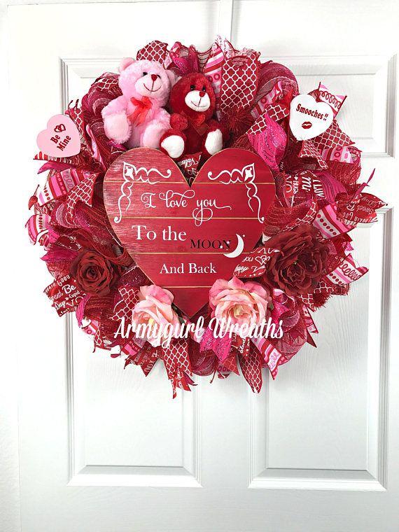 Valentine Deco Mesh Red, White, and Pink Wreath. Valentine red ...