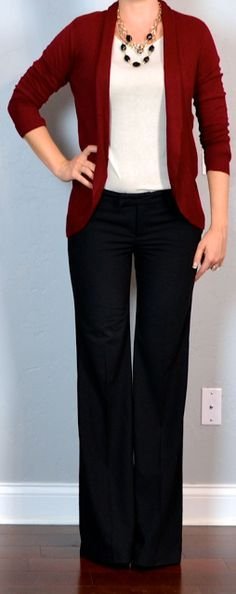 outfit post: burgundy/maroon cardigan, cream shirt, black pants