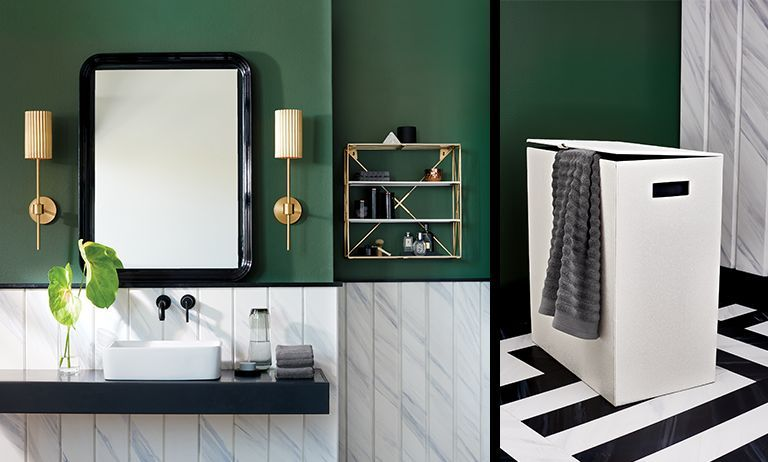 Brass Bathroom Accents Green Bathroom Black And White Tiles Bathroom Green Tile Bathroom