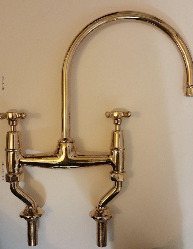 Waterworks Easton Kitchen Bridge Faucet Unlaquered Brass Brass