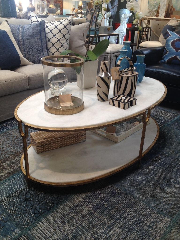 Horchow Global Views Olivia Two Tier Oval Coffee Table With Iron Frame In Gold Finish