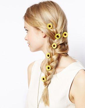 ASOS Pack of 10 Sunflower Hair Grips