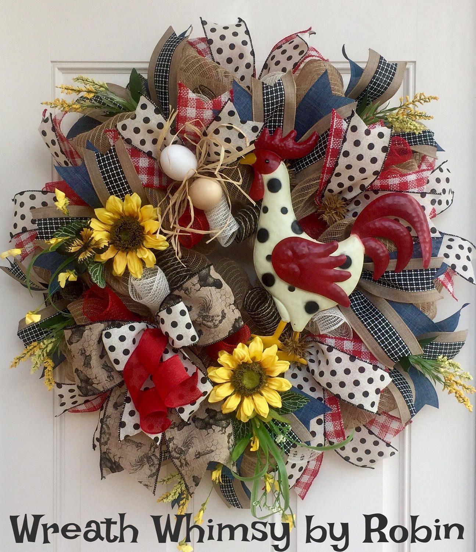Front door decor for all seasons - Rustic Burlap Mesh Rooster Wreath Summer Wreath All Season Wreath Rooster Decor Front Door
