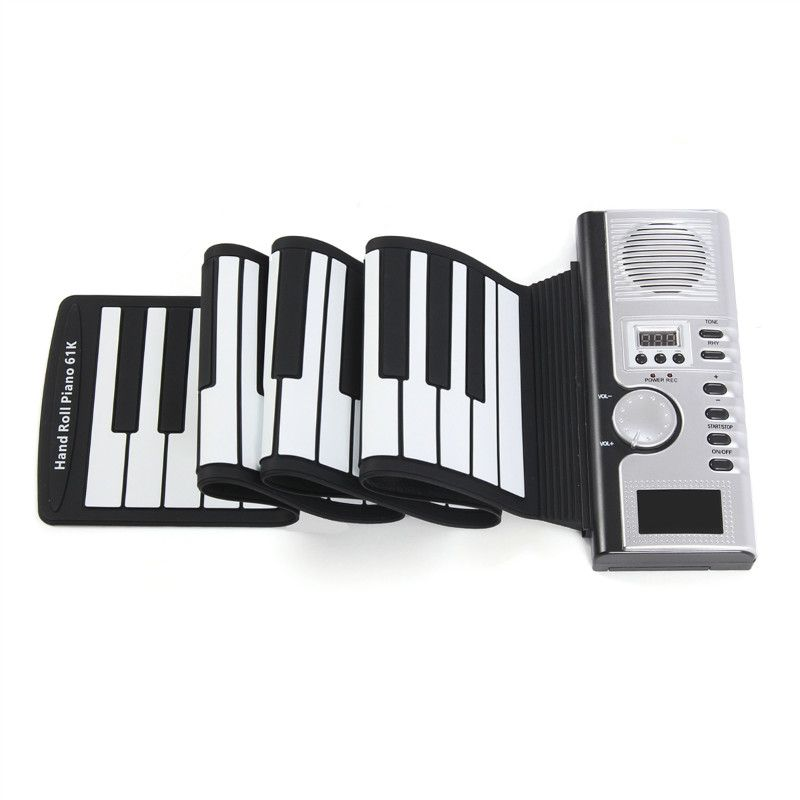 61 Keys Roll Up Digital Electronic LCD Keyboard Piano 128