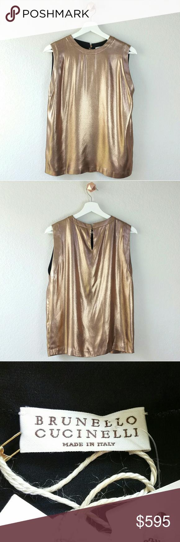 BRUNELLO CUCINELLI copper metallic blouse. Copper RoseRose GoldMetallic  BlousesGold FabricTop ... e7c3cc6a2
