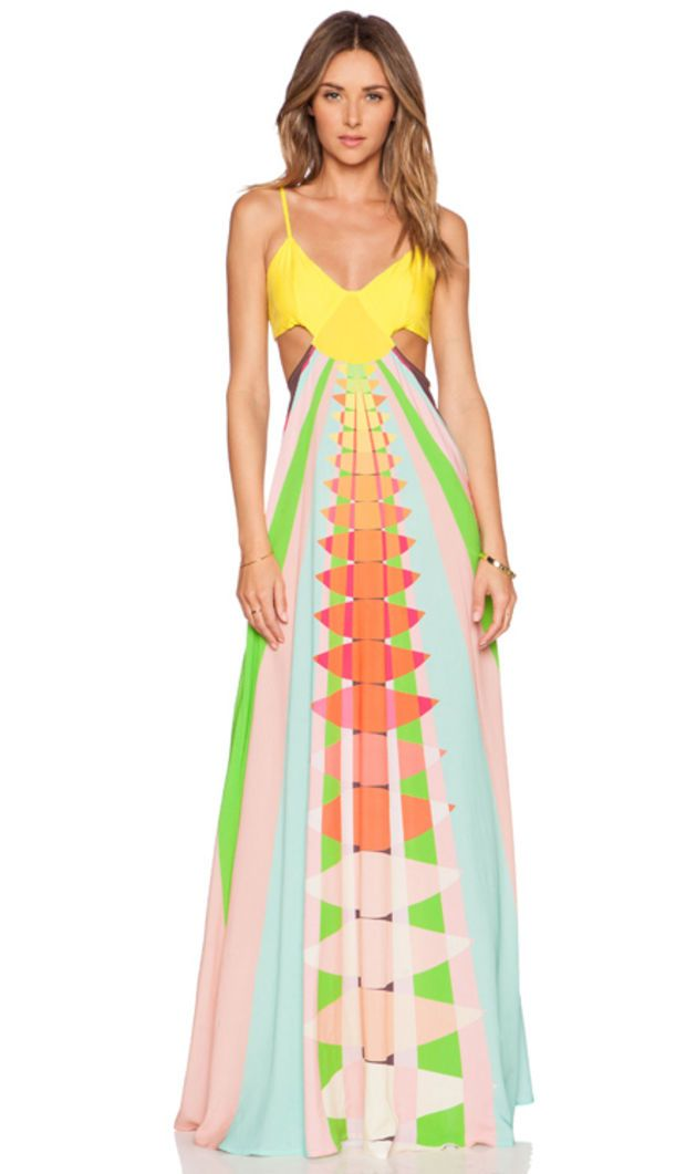 Cut Out Maxi Dress in Beams Yellow