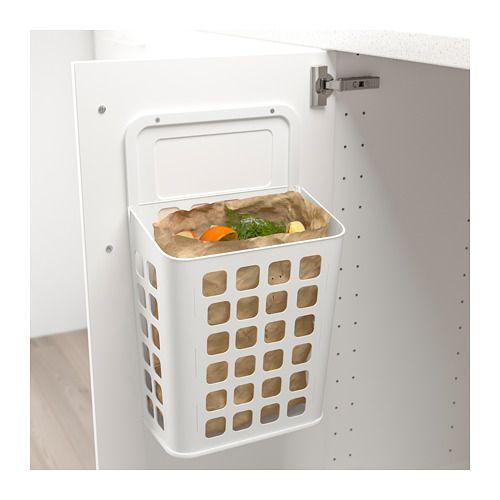 Variera cubo de basura blanco cubos ikea y estantes de for Cubo basura extraible ikea