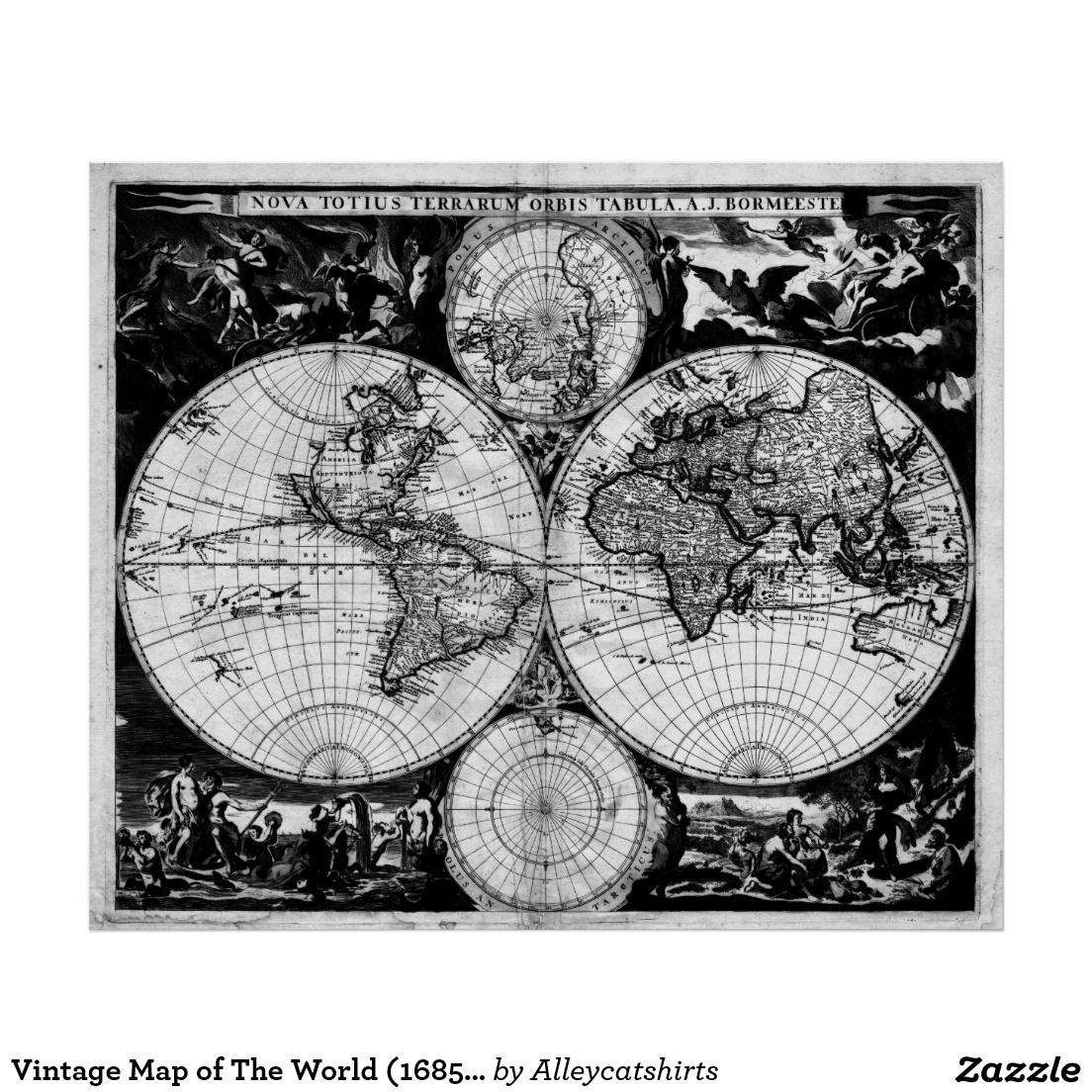 Vintage map of the world 1685 black white poster vintage maps vintage map of the world 1685 black white poster gumiabroncs Gallery