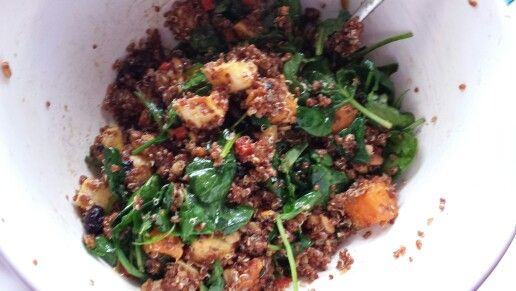My version of red quinoa and squash