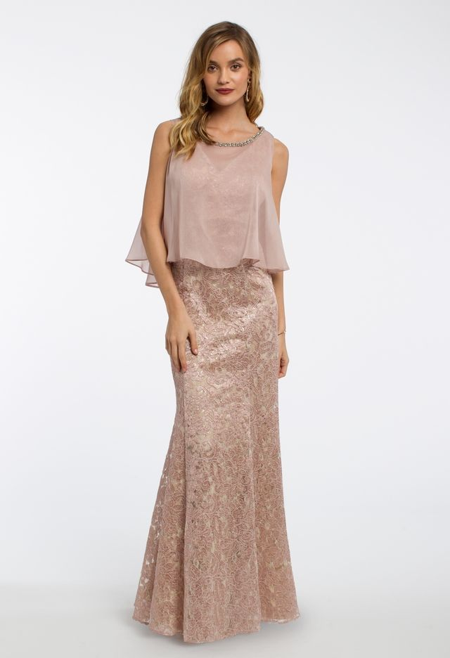 Two-Piece Chiffon Cold Shoulder Cape Dress from Camille La Vie and ...
