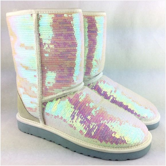 Ugg Clic Short Sparkles I Do Iridescent Boots Worn Once Like New Condition