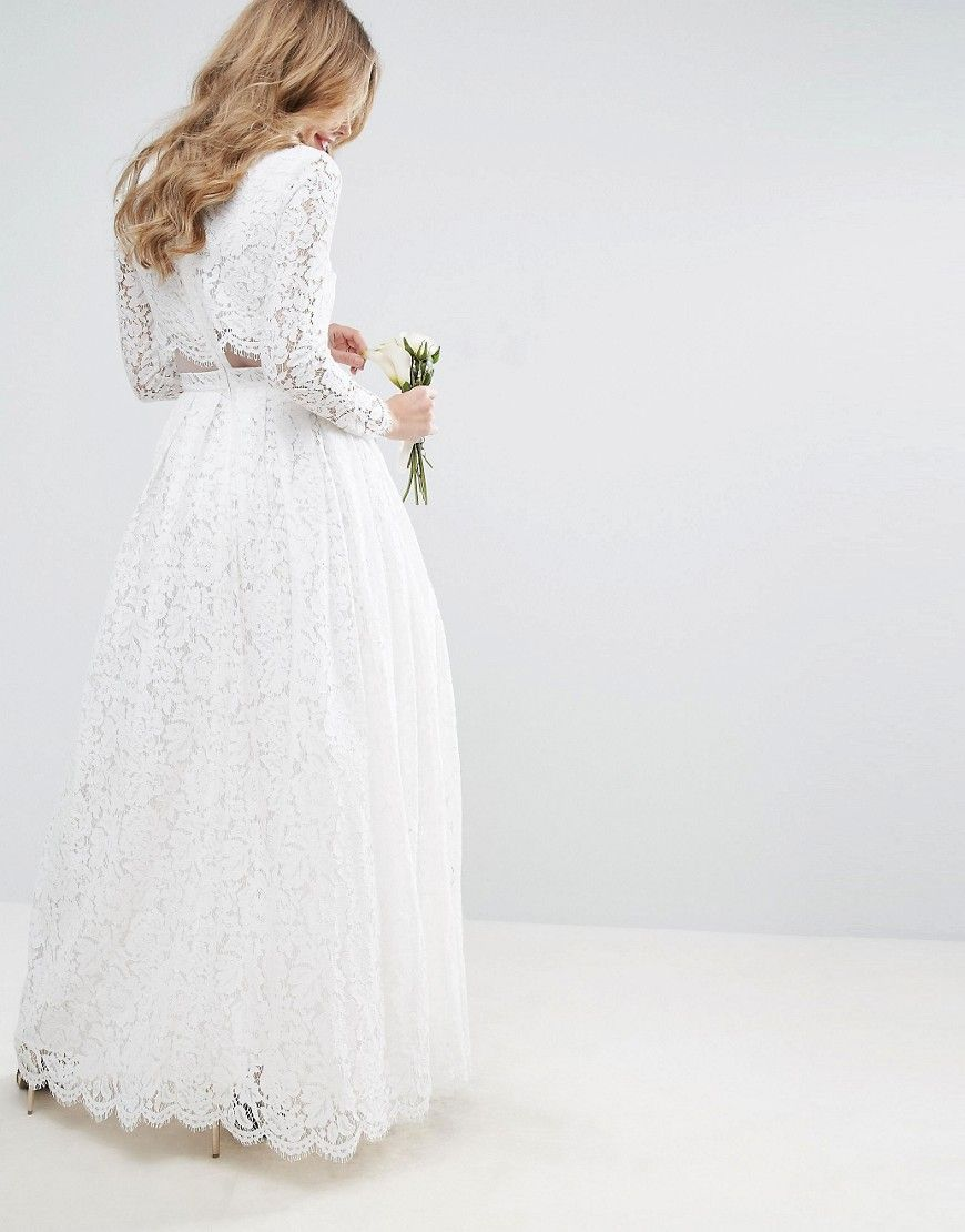 39146ba0ed57 EDITION lace long sleeve crop top maxi wedding dress | Bryllup ideer ...