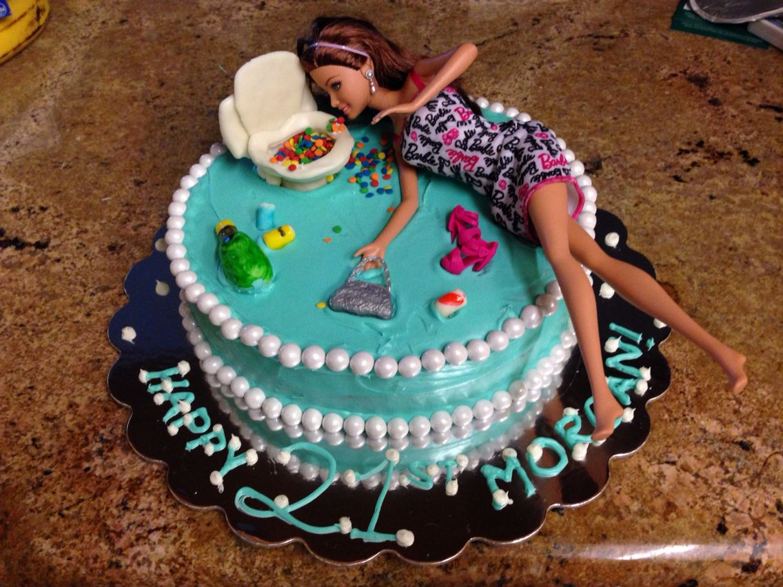 Drunk Barbie Cake 21st Birthday Cake Barbie Throwing Up