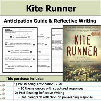 Kite Runner Anticipation Guide Reflection Anticipation Guide Teaching Guides Reading Quizzes