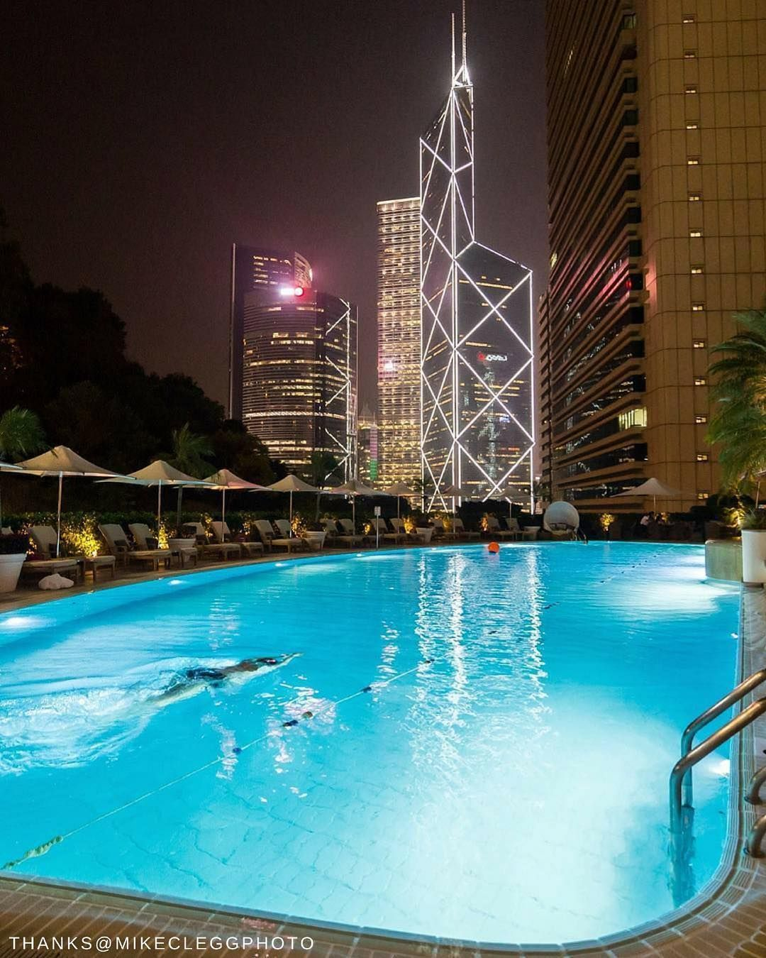 An Evening Dip Under Hong Kong S Sparkling Skyscrapers We Re In Islandshangrila Mikecleggphoto Shangri La Hotel Hotels And Resorts Resort