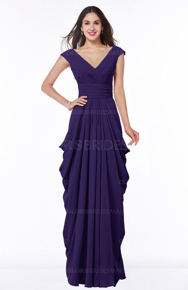 ColsBM Alice Royal Purple Mature V-neck Short Sleeve Chiffon Floor ...