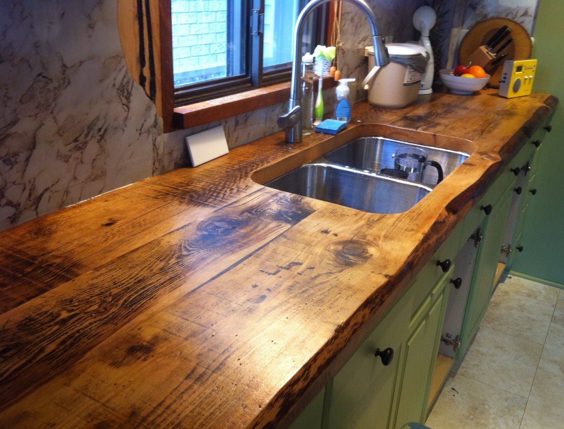 awesome live edge kitchen counter built with 2 inch thick hemlock floor boards by barnboardstore. Black Bedroom Furniture Sets. Home Design Ideas