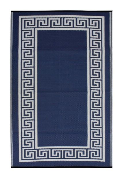 Outdoor Rug Athens Midnight Blue Cream Fab Habitat Outdoor Rugs Indoor Outdoor Rugs