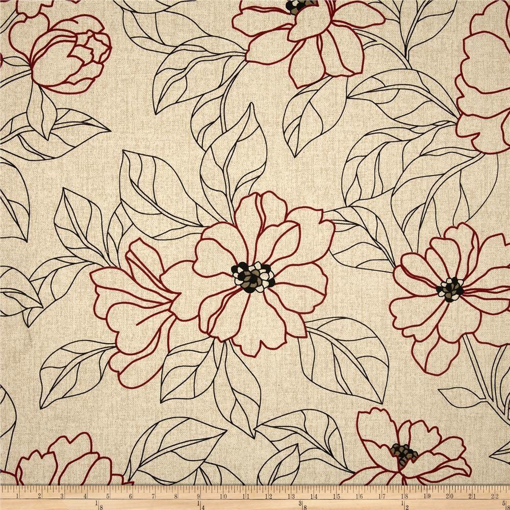 Bella Floral Sketch Red - Discount Designer Fabric - Fabric.com ...