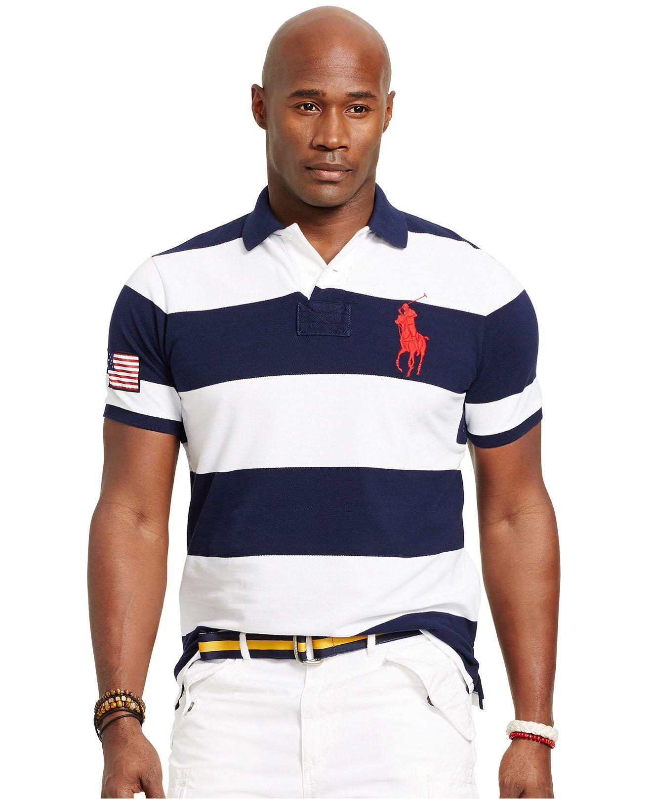 Polo Ralph Lauren Big & Tall Classic-Fit Striped Mesh Polo - Polo Ralph  Lauren