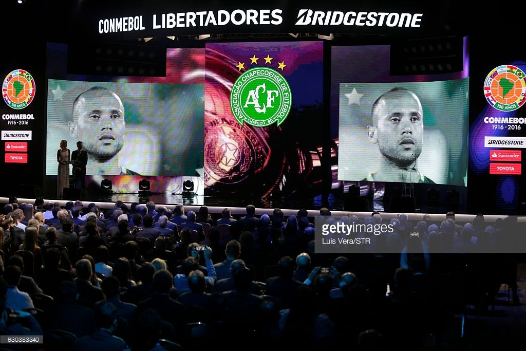 CONMEBOL remembers and honours players of Chapecoense who died in a fatal airplane crash, during the Copa Libertadores 2017 Official Draw at Conmebol Convention Center on December 21, 2016 in Luque, Paraguay.