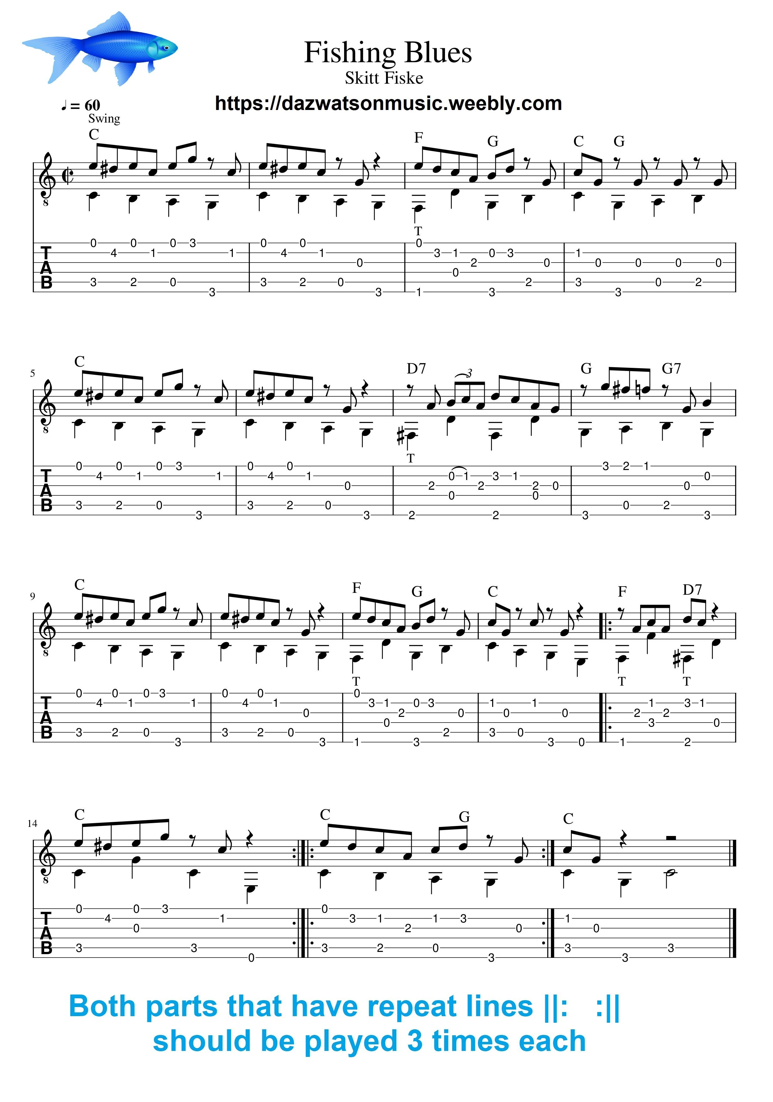 Fishing Blues Easy With Images Guitar Tabs Blues Guitar