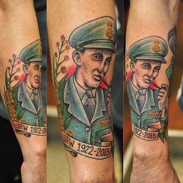 Melbourne Tattoo: A Melbourne War Veteran Traditional Portrait, Tattooed In